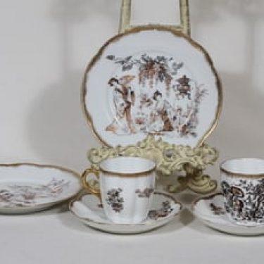 Arabia koriste 7660 kahvikupit ja lautaset, 2 kpl, suunnittelija , siirtokuva, kultafondi, itämainen aihe