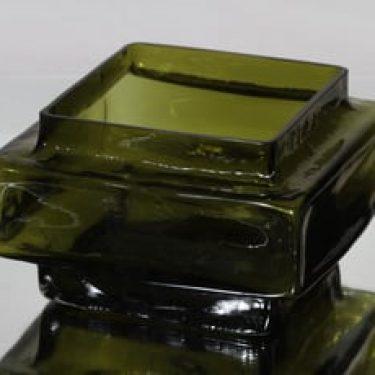 Riihimäen lasi Palkki maljakko, oliivinvihreä, suunnittelija Helena Tynell, suuri