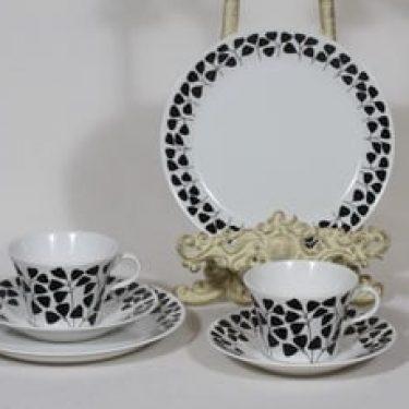 Arabia Lutukka kahvikupit ja lautaset, musta, 2 kpl, suunnittelija Esteri Tomula, serikuva, retro