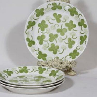 Arabia Apila lautaset, matala, 4 kpl, suunnittelija Birger Kaipiainen, matala, serikuva, retro