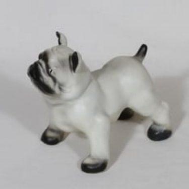Arabia Buldoggi figuuri, koira, suunnittelija Lea von Mickwitz, koira, käsinmaalattu