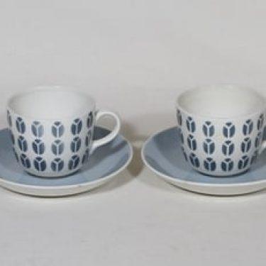 Arabia Papu kahvikupit, siniharmaa, 2 kpl, suunnittelija Raija Uosikkinen, puhalluskoriste, retro