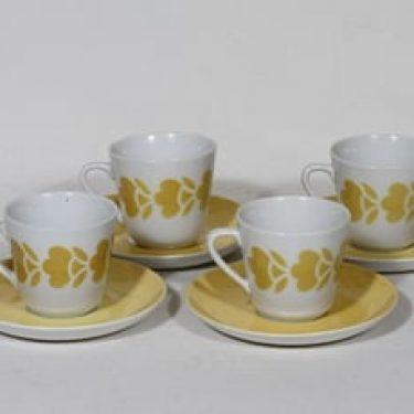 Arabia retrokuvio kahvikupit, keltainen, 4 kpl, suunnittelija , puhalluskoriste, retro