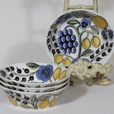 Arabia Paratiisi lautaset, syvä, 4 kpl, suunnittelija Birger Kaipiainen, syvä, värillinen, serikuva, retro