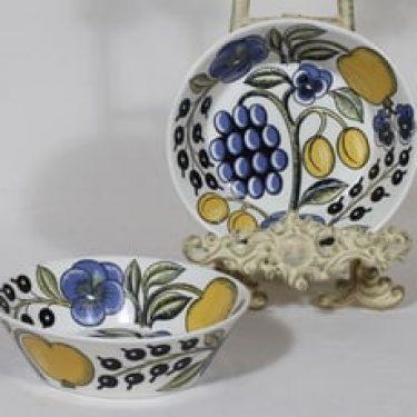 Arabia Paratiisi lautaset, syvä, 2 kpl, suunnittelija Birger Kaipiainen, syvä, värillinen, serikuva, retro