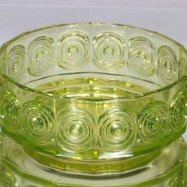 Riihimäen lasi Rengas kulho, keltainen, suunnittelija Tamara Aladin,
