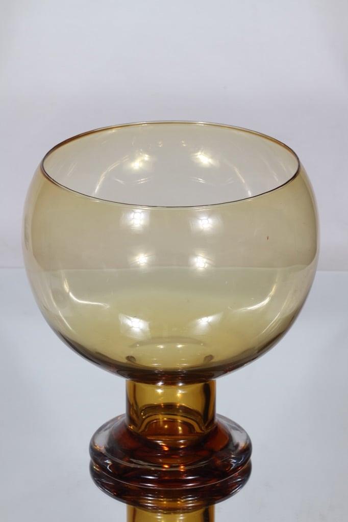 Riihimäen lasi Old King Cole boolimalja, amber, suunnittelija Erkkitapio Siiroinen, suuri