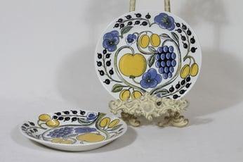 Arabia Paratiisi lautaset, matala, 2 kpl, suunnittelija Birger Kaipiainen, matala, soikea, serikuva, retro