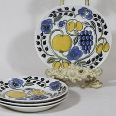 Arabia Paratiisi lautaset, matala, 4 kpl, suunnittelija Birger Kaipiainen, matala, soikea, serikuva, retro