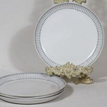 Arabia Heini lautaset, matala, 4 kpl, suunnittelija Raija Uosikkinen, matala, kuparipainokoriste