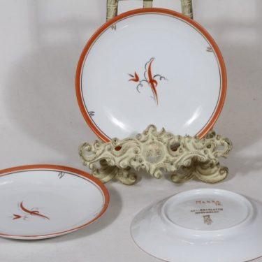 Arabia Mekka lautaset, pieni, 3 kpl, suunnittelija Greta Lisa Jäderholm-Snellman, pieni, art deco, signeerattu
