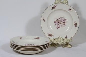 Arabia Raili lautaset, syvä, 6 kpl, suunnittelija Svea Granlund, syvä, siirtokuva, kukka-aihe