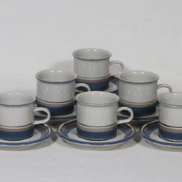Arabia Uhtua kahvikupit, 6 kpl, suunnittelija Inkeri Leivo, raitakoriste