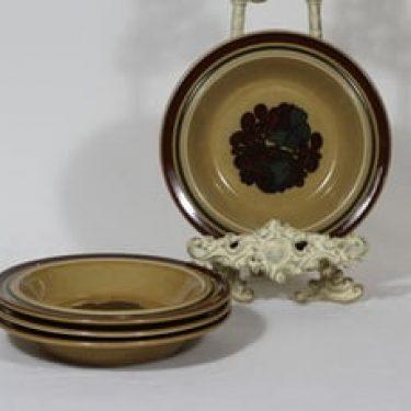 Arabia Otso lautaset, syvä, 4 kpl, suunnittelija Raija Uosikkinen, syvä, erikoiskoriste, retro