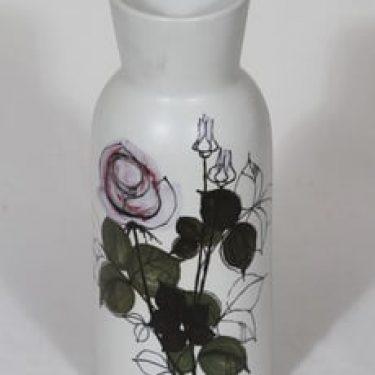 Arabia Kukka maljakko, käsinmaalattu, suunnittelija Hilkka-Liisa Ahola, käsinmaalattu, suuri, signeerattu, mattalasite