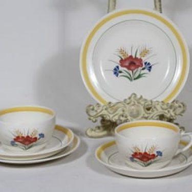 Arabia Kesä teekupit ja lautaset, 2 kpl, suunnittelija Rainer Baer, siirtokuva, kukka-aihe, maalattu raita