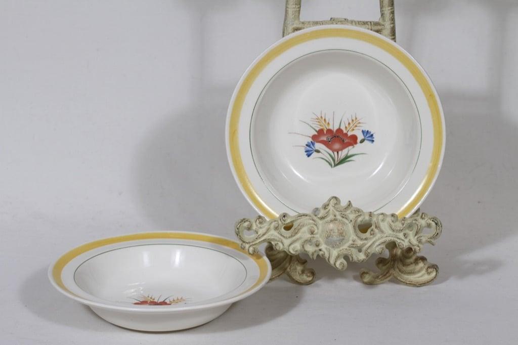 Arabia Kesä lautaset, syvä, 2 kpl, suunnittelija Rainer Baer, syvä, siirtokuva, kukka-aihe, maalattu raita