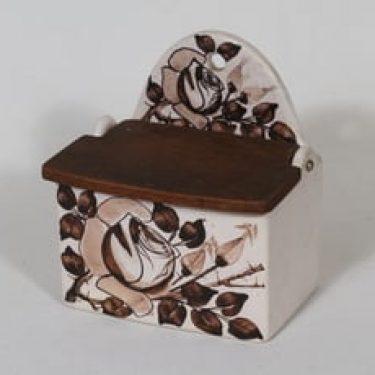 Kupittaan savi 1298 suola-astia, käsinmaalattu, suunnittelija , käsinmaalattu, signeerattu, ruusuaihe