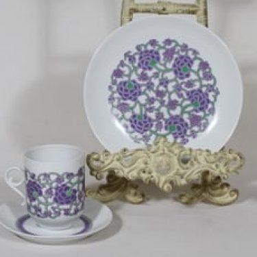 Arabia Ansa kahvikuppi ja lautanen, suunnittelija Esteri Tomula, serikuva, retro