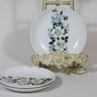 Arabia Juhannus lautaset, 3 kpl, suunnittelija Raija Uosikkinen, pieni, serikuva, kukka-aihe