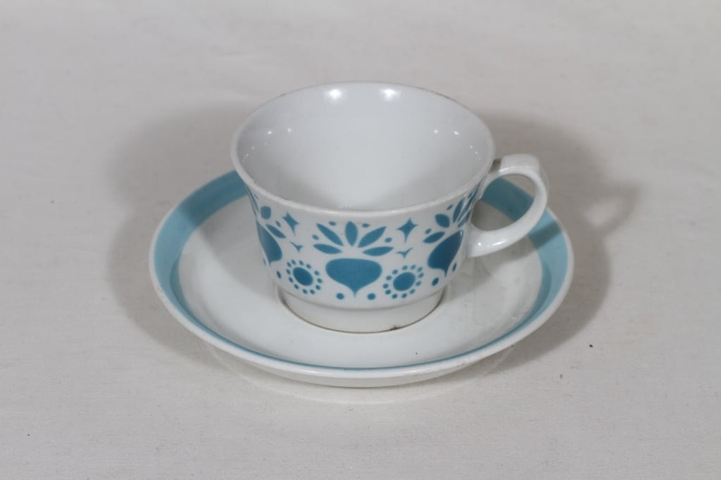 Arabia Retikka kahvikuppi, sininen, suunnittelija Hilkka-Liisa Ahola, puhalluskoriste, retro