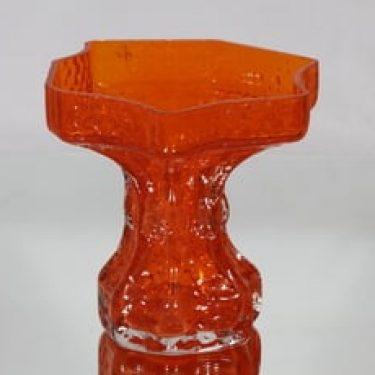 Riihimäen lasi Quadrifolia maljakko, oranssi, suunnittelija Nanny Still, retro