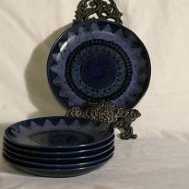 Arabia Kuutamo lautaset, käsinmaalattu, 6 kpl, suunnittelija Hilkka-Liisa Ahola, käsinmaalattu