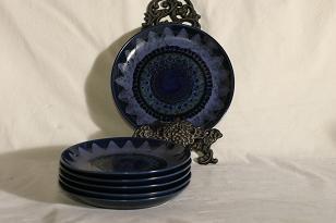 Arabia Kuutamo plates, hand-painted, 6 pcs, designer Hilkka-Liisa Ahola