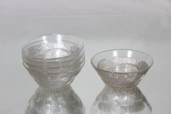 Nuutajärvi Pioni dessert glasses, clear, 5 pcs, Oiva Toikka,
