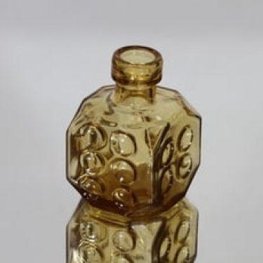Riihimäen lasi Arpa on heitetty koristepullo, amber, suunnittelija Erkkitapio Siiroinen, pieni
