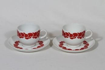 Arabia Pilvi kahvikupit, punainen, 2 kpl, suunnittelija Göran Bäck, serikuva, retro