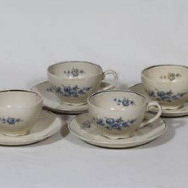 Arabia kukkakuvio kahvikupit, 4 kpl, suunnittelija , siirtokuva