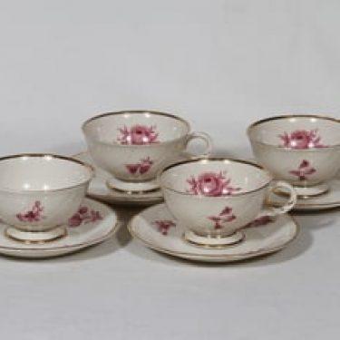Arabia Regina kahvikupit, 4 kpl, suunnittelija Svea Granlund, serikuva, ruusuaihe