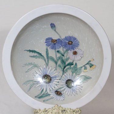 Kupittaan savi decorative plate, hand-painted, designer Gudrun Raunio, big, signed