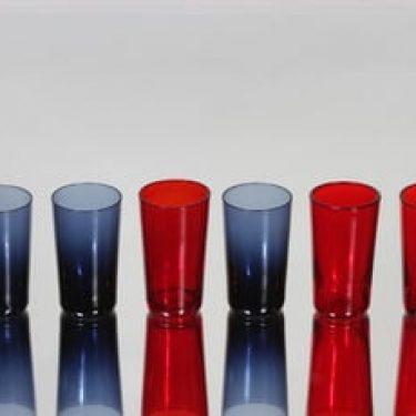 Nuutajärvi 1153 snapsilasit, punainen|sininen, 6 kpl, suunnittelija Kaj Franck, pieni