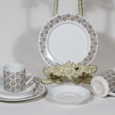 Arabia Rypäle kahvikupit ja lautaset, 2 kpl, suunnittelija Raija Uosikkinen, serikuva, retro