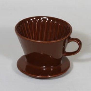 Arabia koristelematon kahvisuppilo, ruskea lasite, suunnittelija , pieni