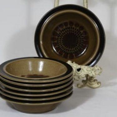 Arabia Kosmos lautaset, syvä, 7 kpl, suunnittelija Gunvor Olin-Grönqvist, syvä, puhalluskoriste, retro