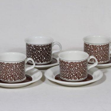 Arabia Faenza kahvikupit, ruskea, 4 kpl, suunnittelija Inkeri Seppälä, serikuva, retro