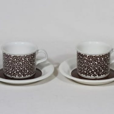 Arabia Faenza kahvikupit, ruskea, 2 kpl, suunnittelija Inkeri Seppälä, serikuva, retro