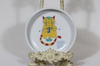 Arabia Kissa lasten lautanen, suunnittelija Laila Hakala, serikuva, kissa-aihe