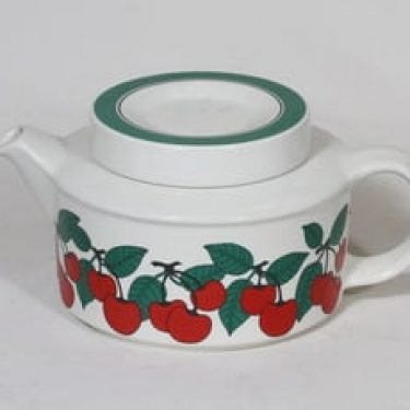 Arabia Kirsikka teekaadin, 1.3 l, suunnittelija Inkeri Seppälä, 1.3 l, serikuva, retro