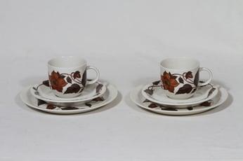 Arabia Cafe kahvikupit ja lautaset, 2 kpl, suunnittelija Gunvor Olin-Grönqvist, serikuva, kukka-aihe