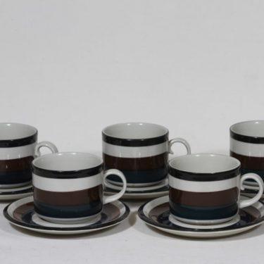 Arabia Kaira teekupit, 5 kpl, suunnittelija Anja Jaatinen-Winqvist, raitakoriste