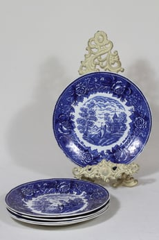 Arabia Maisema lautaset, matala, 5 kpl, suunnittelija , matala, serikuva