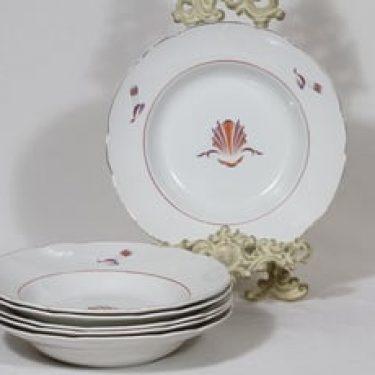 Arabia Näkki lautaset, syvä, 6 kpl, suunnittelija Tyra Lungren, syvä, siirtokuva, art deco
