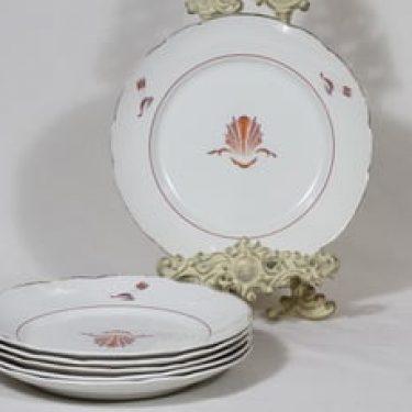 Arabia Näkki lautaset, matala, 6 kpl, suunnittelija Tyra Lungren, matala, siirtokuva, art deco