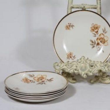 Arabia Myrna lautaset, pieni, 6 kpl, suunnittelija Olga Osol, pieni, siirtokuva, kukka-aihe