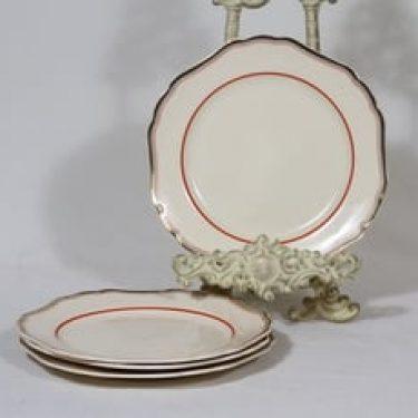 Arabia koriste numero 21 lautaset, pieni, 4 kpl, suunnittelija , pieni, raitakoriste, kultakoriste