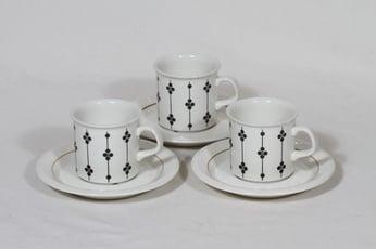 Arabia Kartano kahvikupit, 3 kpl, suunnittelija Esteri Tomula, serikuva